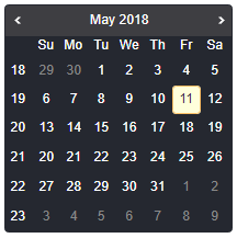 React Calendar with Week Number - Javascript, HTML5, jQuery